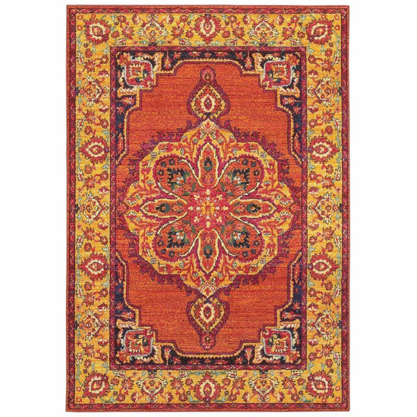 Bohemian Orange Yellow Oriental Medallion Traditional Rug - Free Shipping