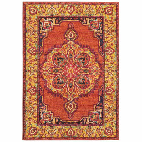 Bohemian Orange Yellow Oriental Medallion Traditional Rug