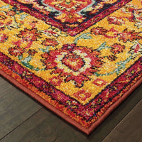 Traditional Rug - Bohemian Orange Yellow Oriental Medallion Traditional Rug
