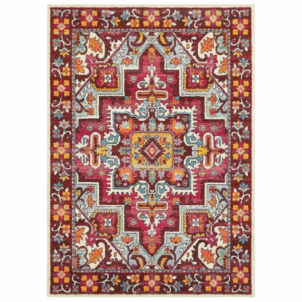 Bohemian Red Pink Oriental Medallion Traditional Rug - Free Shipping