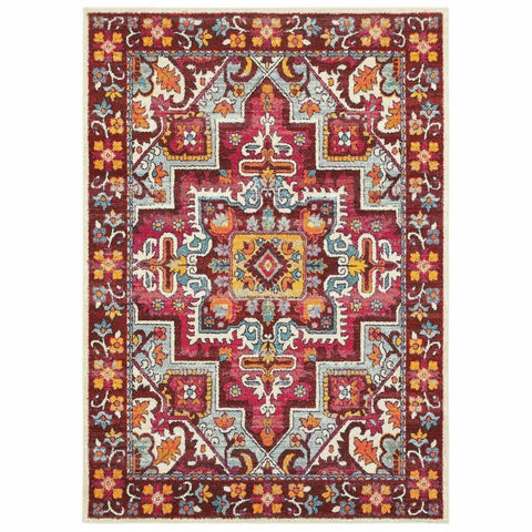 Oriental Weavers Bohemian Red Pink Oriental Medallion Traditional Rug