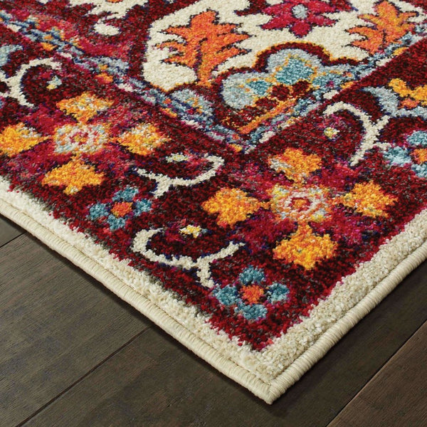 Traditional Rug - Bohemian Red Pink Oriental Medallion Traditional Rug