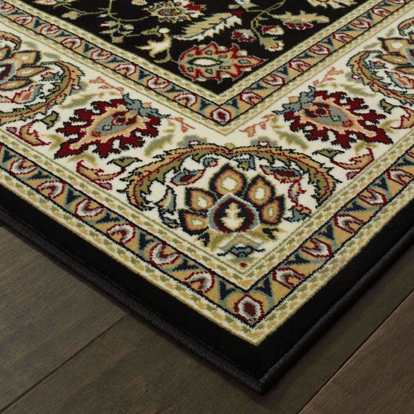 Traditional Rug - Kashan Black Ivory Oriental  Traditional Rug