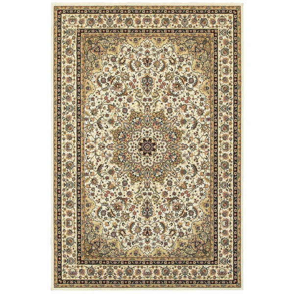 Kashan Ivory Beige Oriental Medallion Traditional Rug - Free Shipping