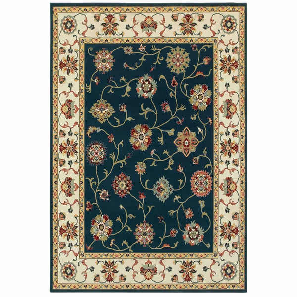 Kashan Navy Ivory Oriental Floral Traditional Rug - Free Shipping