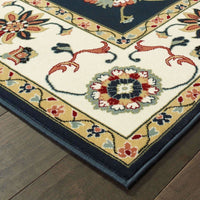 Traditional Rug - Kashan Navy Ivory Oriental Floral Traditional Rug