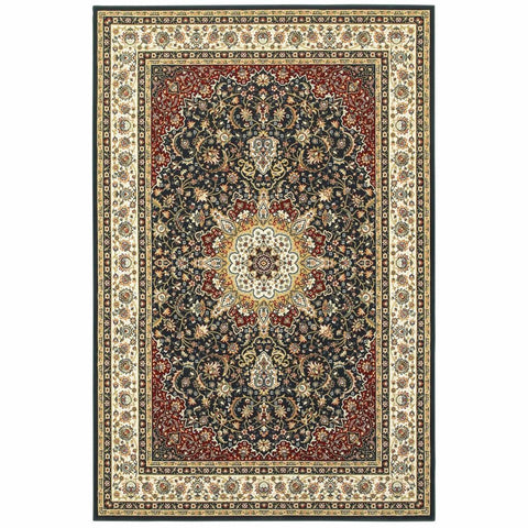Oriental Weavers Kashan Navy Ivory Oriental Medallion Traditional Rug