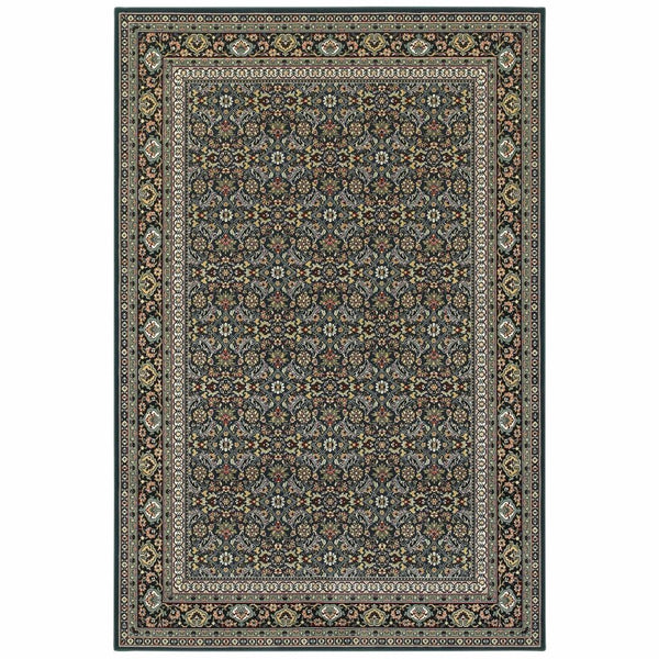 Kashan Navy Multi Oriental Floral Traditional Rug - Free Shipping
