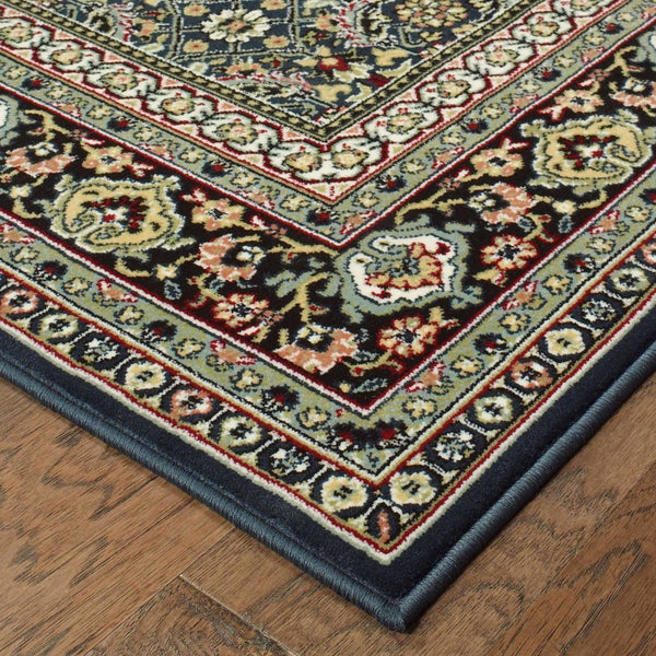 Traditional Rug - Kashan Navy Multi Oriental Floral Traditional Rug