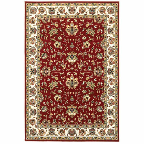 Kashan Red Ivory Oriental Floral Traditional Rug