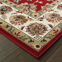 Traditional Rug - Kashan Red Ivory Oriental Floral Traditional Rug
