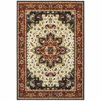 Kashan Red Ivory Oriental Medallion Traditional Rug - Free Shipping