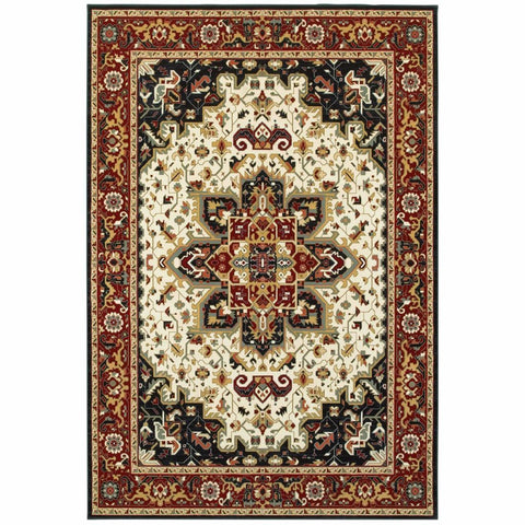 Oriental Weavers Kashan Red Ivory Oriental Medallion Traditional Rug