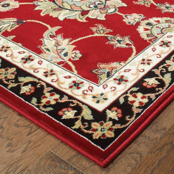 Traditional Rug - Kashan Red Multi Oriental Floral Traditional Rug