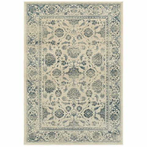 Oriental Weavers Linden Ivory Blue Oriental Distressed Traditional Rug