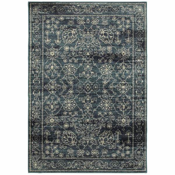 Linden Navy Beige Oriental Distressed Traditional Rug