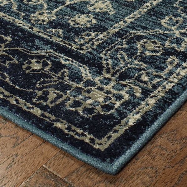 Traditional Rug - Linden Navy Beige Oriental Distressed Traditional Rug
