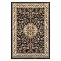 Masterpiece Dark Blue Ivory Oriental Medallion Traditional Rug - Free Shipping
