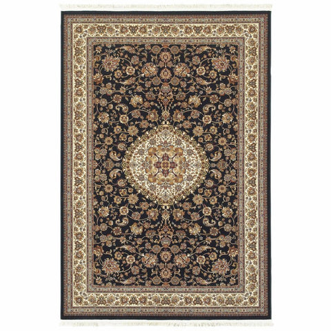 Oriental Weavers Masterpiece Dark Blue Ivory Oriental Medallion Traditional Rug