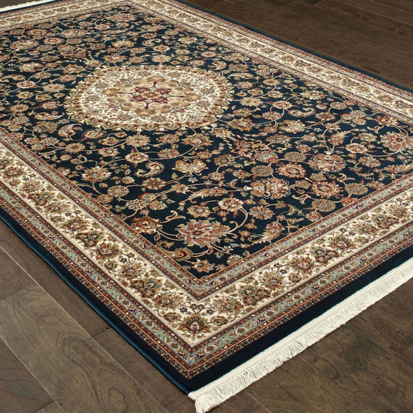 Traditional Rug - Masterpiece Dark Blue Ivory Oriental Medallion Traditional Rug
