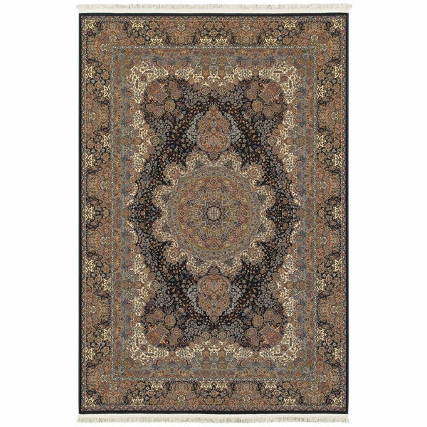 Masterpiece Dark Blue Multi Oriental Medallion Traditional Rug - Free Shipping