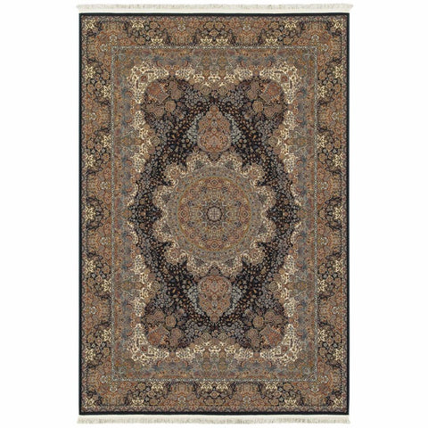 Oriental Weavers Masterpiece Dark Blue Multi Oriental Medallion Traditional Rug
