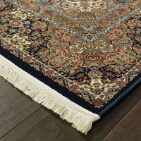 Traditional Rug - Masterpiece Dark Blue Multi Oriental Medallion Traditional Rug
