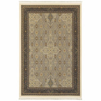 Masterpiece Ivory Dark Blue Oriental Medallion Traditional Rug - Free Shipping