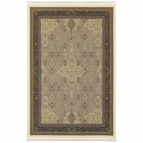 Oriental Weavers Masterpiece Ivory Dark Blue Oriental Medallion Traditional Rug