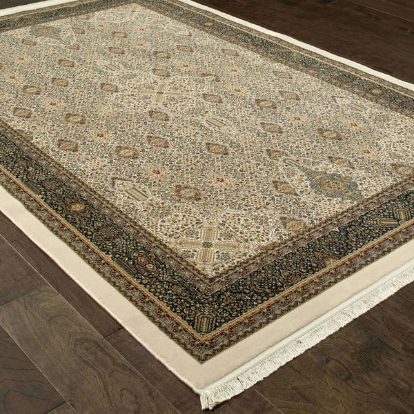 Traditional Rug - Masterpiece Ivory Dark Blue Oriental Medallion Traditional Rug