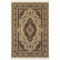Masterpiece Ivory Multi Oriental Medallion Traditional Rug - Free Shipping
