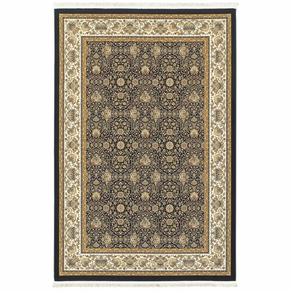 Masterpiece Navy Ivory Oriental  Traditional Rug - Free Shipping