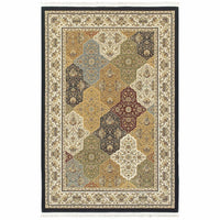 Masterpiece Navy Multi Oriental Trefoil Traditional Rug - Free Shipping