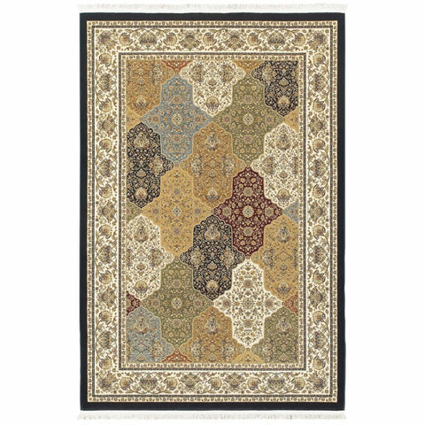Oriental Weavers Masterpiece Navy Multi Oriental Trefoil Traditional Rug