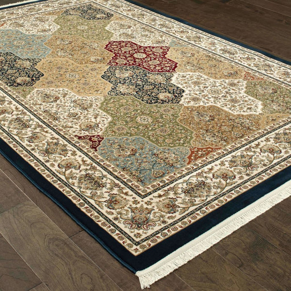 Traditional Rug - Masterpiece Navy Multi Oriental Trefoil Traditional Rug