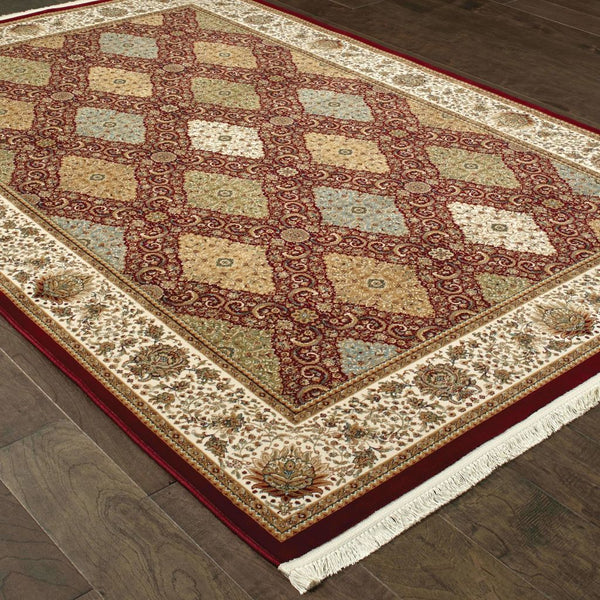 Traditional Rug - Masterpiece Red Multi Oriental Geometric Traditional Rug