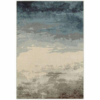 Linden Blue Beige Abstract Ombre Transitional Rug - Free Shipping