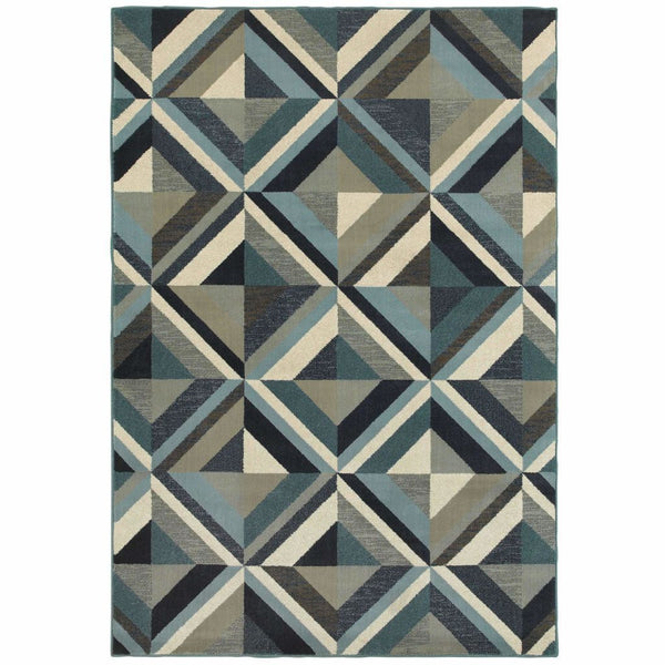 Linden Blue Grey Geometric Lattice Transitional Rug - Free Shipping