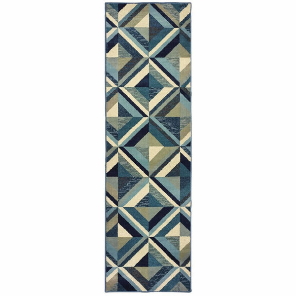 Transitional Rug - Linden Blue Grey Geometric Lattice Transitional Rug
