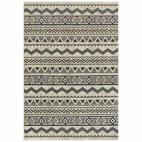 Oriental Weavers Linden Grey Blue Southwest/Lodge Chevron Transitional Rug