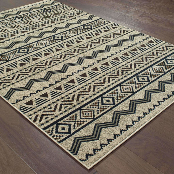Transitional Rug - Linden Grey Blue Southwest/Lodge Chevron Transitional Rug