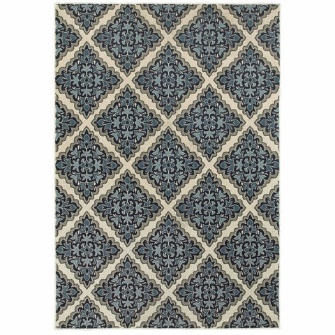 Oriental Weavers Linden Ivory Blue Geometric Medallion Transitional Rug