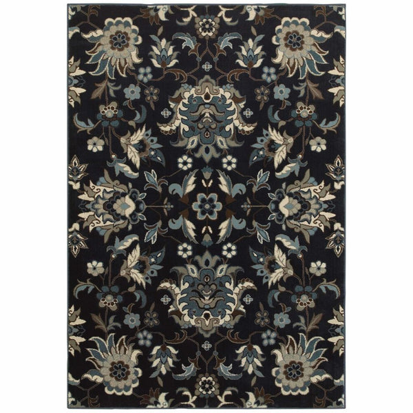 Linden Navy Blue Floral  Transitional Rug - Free Shipping