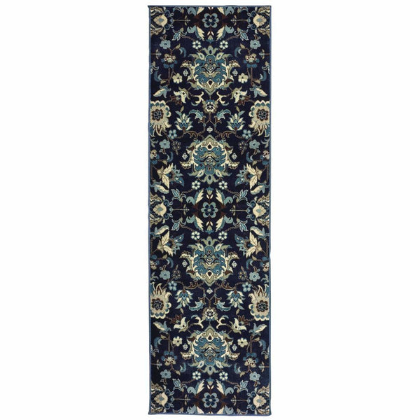 Transitional Rug - Linden Navy Blue Floral  Transitional Rug