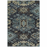Linden Navy Blue Southwest/Lodge  Transitional Rug - Free Shipping