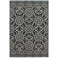 Linden Navy Grey Geometric Medallion Transitional Rug - Free Shipping