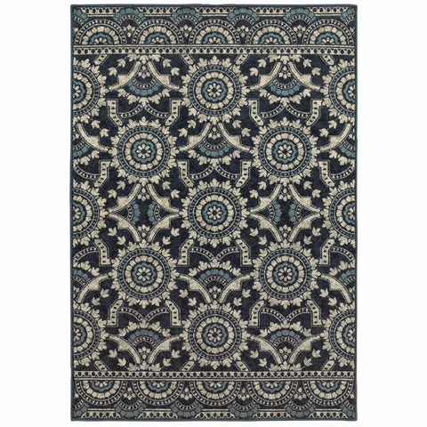 Oriental Weavers Linden Navy Grey Geometric Medallion Transitional Rug