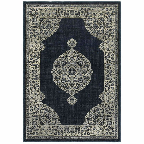 Linden Navy Grey Oriental Medallion Transitional Rug - Free Shipping