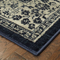 Transitional Rug - Linden Navy Grey Oriental Medallion Transitional Rug
