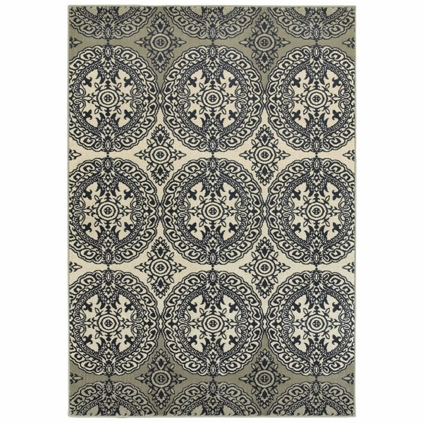 Linden Navy Ivory Oriental Medallion Transitional Rug - Free Shipping